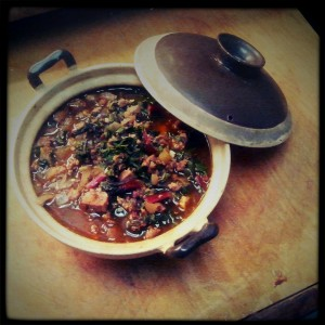 Stewed Chard with Sausage & Garlic