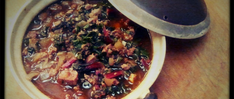 Stewed Chard with Sausage & Garlic
